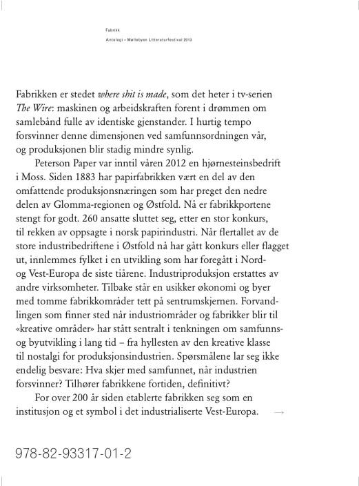 Fabrikk: Antologi – Møllebyen Litteraturfestival 2013